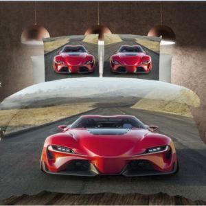 Pościel 3D -  Czerwony Supercar - 160x200 cm - 3 cz - K-7-08