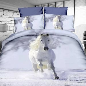 Pościel 3D - Biały Koń - 140x200 cm - 2 cz - 4209-02