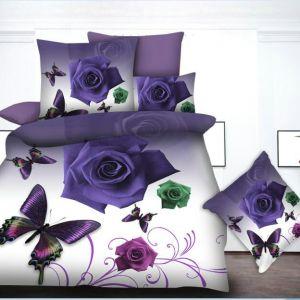 Pościel 3D - Róże Fioletowe - 160x200 cm - 4 cz - 013-04