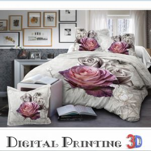 Pościel 3D - Srebrne Róże - 160x200 cm - 4 cz - 013-05