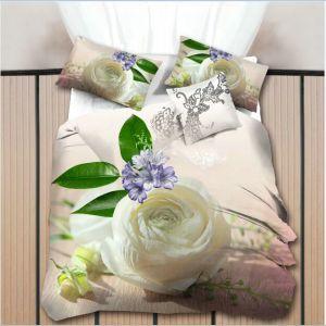 Pościel 3D - Biała Róża- 160x200 cm - 4 cz - 013-10