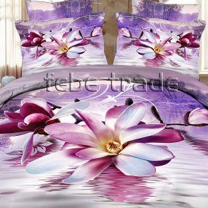 Pościel 3D - Fioletowa Magnolia  - 220x200 cm - 4 cz -1703-01