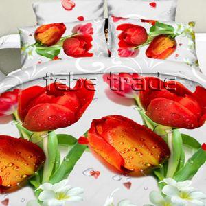 Pościel 3D - Czerwone Tulipany - 220x200 cm - 4 cz -1703-02