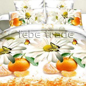 Pościel 3D -  Mandarynki z Kwiatami- 220x200 cm - 4 cz -1703-03
