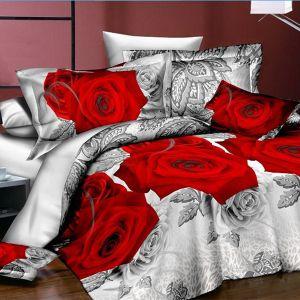 Pościel 3D - Czerwone Róże - 220x200 cm - 3 cz - 1713-04
