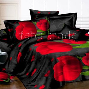 Pościel 3D -  Czerwone Tulipany  - 220x200 cm - 3 cz - 1715-07