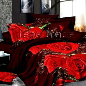 Pościel 3D -  Bordowe Róże  - 220x200 cm - 3 cz - 1715-08
