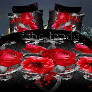 Pościel 3D -  Czerwone Kwiaty  - 220x200 cm - 3 cz - 1715-09