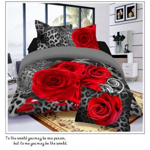 Pościel 3D - Czerwone Róże - 160x200 cm - 4 cz - 4219-119