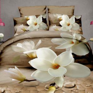 Pościel 3D - Biała Magnolia - 160x200 cm - 4 cz - 812-128
