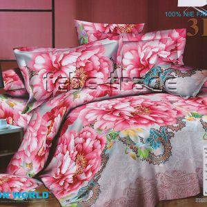 Pościel 3D - Różowe Kwiaty - 160x200 cm - 3 cz - 233-03