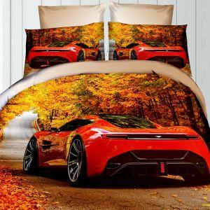 Pościel 3D - Jesienny Samochód - 220x200 cm - 3 cz - 236-12