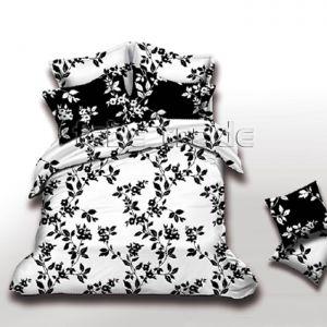 Pościel dwustronna - Czarne Kwiaty - 220x200 cm - 3cz - 2703-07