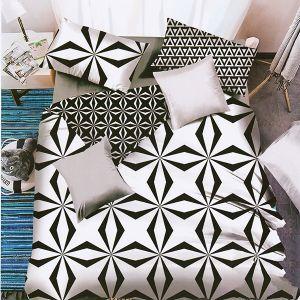 Pościel 3D - Czarno-Biała Geometria - 140x200 cm - 4 cz - MN5008