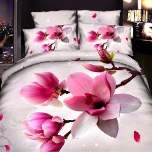 Pościel 3D - Różowe Magnolie - 160x200 cm - 3 cz - 4219-130