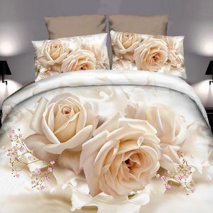 Pościel 3D - Mleczne Róże - 160x200 cm - 3 cz - 4219-132
