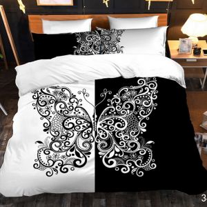 Pościel 3D - Czarno-Biały Motyl - 160x200 cm - 4 cz - 4219-349