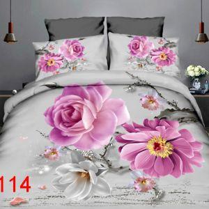 Pościel 3D - Delikatnie Fioletowe Kwiaty - 160x200 cm - 3 cz - 4219-114