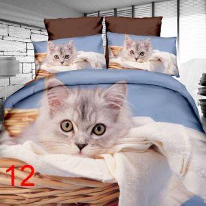 Pościel 3D - Kotek w Koszyku - 160x200 cm - 3 cz - 4219-12