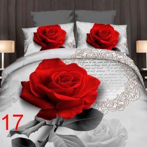 Pościel 3D - Klasyczna Róża - 160x200 cm - 3 cz - 4219-17
