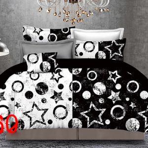 Pościel 3D - Czarno-Białe Gwiazdki - 160x200 cm - 4 cz - 4219-360