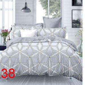 Pościel 3D - Szaro-Białe Gwiazdki - 160x200 cm - 4 cz - 4211-38