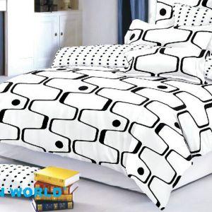 Pościel dwustronna - Czarno-Biały Motyw - 160x200 cm - 4cz - 315-05