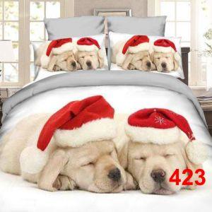 Pościel 3D - Świąteczne Labradorki- 160x200 cm - 3 cz - 4223-423
