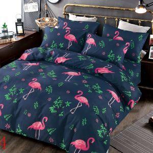 Pościel 3D - Granatowe Flamingi - 220x200 cm - 3 cz - 4229-514