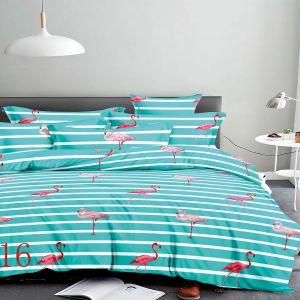 Pościel 3D - Miętowe Flamingi - 220x200 cm - 3 cz - 4229-516