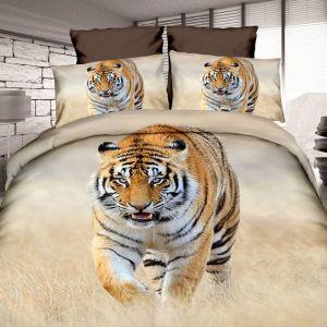 Pościel 3D - Polujący Tygrys - 160x200 cm - 4 cz - 4211-02