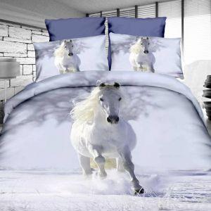 Pościel 3D - Biały Koń - 160x200 cm - 4 cz - 4211-28