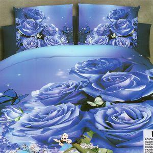 Pościel 3D - Niebieskie Róże - 220x200 cm - 4 cz - MI6202