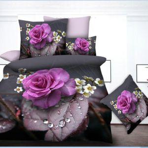 Pościel 3D - Fioletowe Róże - 220x200 cm - 4 cz - 013-18