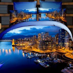 Pościel 3D - Nocny Port  - 220x200 cm - 4 cz - 716-04