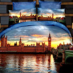 Pościel 3D - Wieczorny Londyn  - 220x200 cm - 4 cz - 716-09
