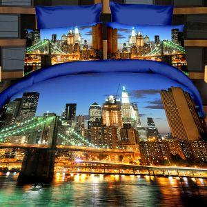 Pościel 3D - Nocne Miasto - 220x200 cm - 3 cz - 165-05