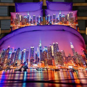 Pościel 3D - Miasto w światłach  - 220x200 cm - 3 cz - 165-07