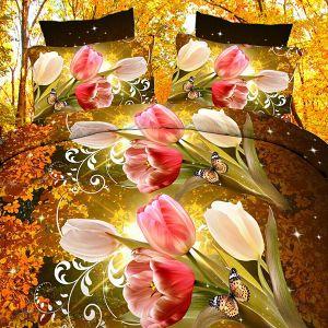 Narzuta 3D - Jesienne Tulipany - 220 x 200 cm - 3 cz - 2302-05