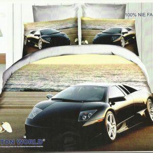 Pościel 3D - Lamborghini przy Morzu - 220x200 cm - 3 cz - 159-02