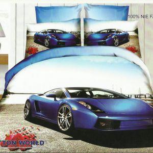 Pościel 3D - Fioletowy Sportcar - 220x200 cm - 3 cz - 159-06