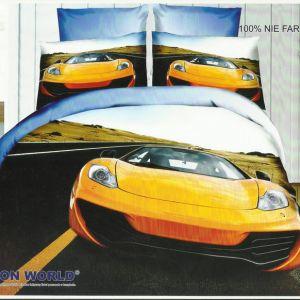 Pościel 3D - Żółty SportCar - 220x200 cm - 3 cz - 159-09