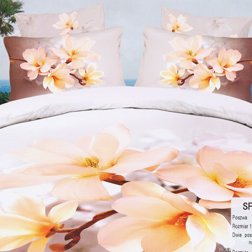 Pościel 3D - Mleczne magnolie  - 160x200 cm - 3 cz - SF-60