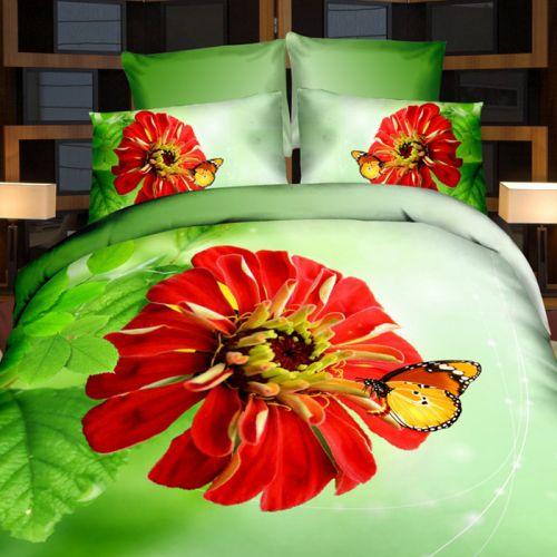 Pościel 3D - Czerwony Kwiat - 220x200 cm - 4 cz - 727-04