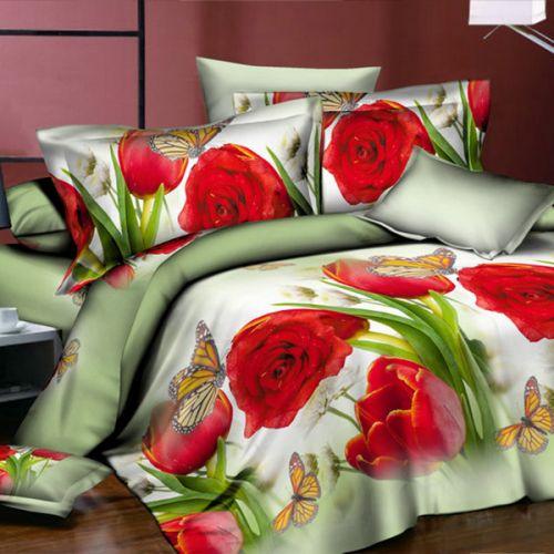 Pościel 3D - Róże i Tulipany - 220x200 cm - 3 cz - FSC-269-01