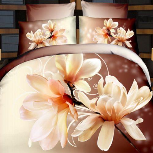 Pościel 3D - Kremowa Magnolia - 220x200 cm - 4 cz - 373-07