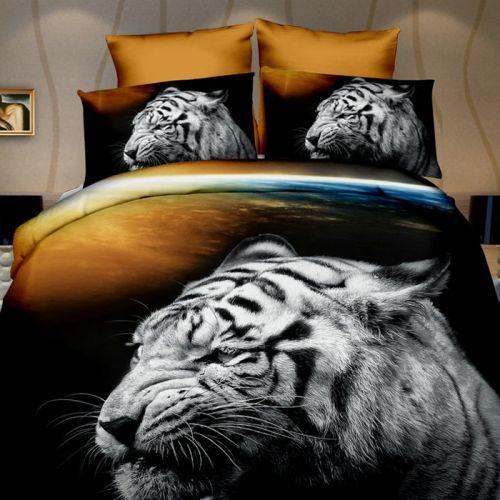 Pościel 3D - Biały Tygrys  - 160x200 cm - 3 cz - 270-08