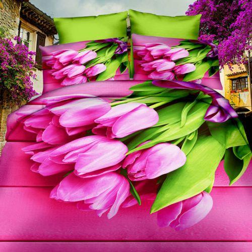 Pościel 3D - Różowe Tulipany - 160x200 cm - 3 cz - 281-01