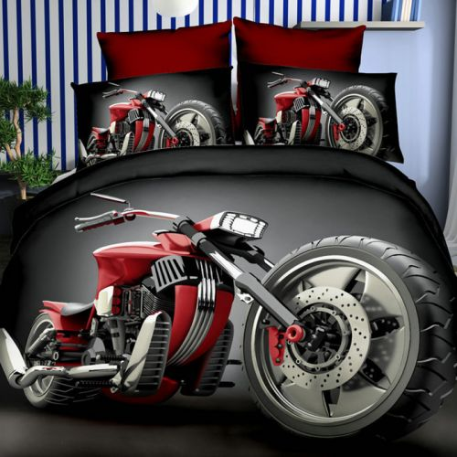 Pościel 3D - Czerwony Chopper - 160x200 cm - 3 cz - 284-08