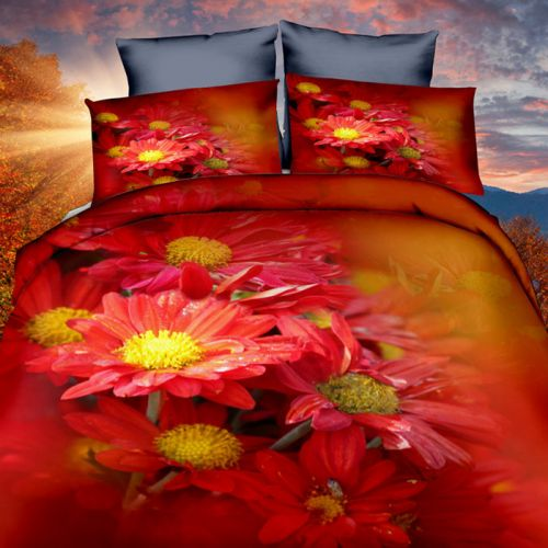 Pościel 3D - Czerwone Kwiaty - 160x200 cm - 3 cz - 283-03